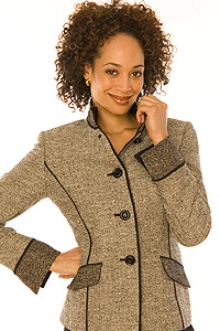 Black and White Italian Wool/Baby Alpaca Boucle Tweed Jacket Black
